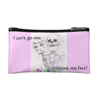 I Can't Go Without My Face Skeleton Makeup Bag