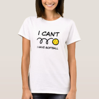 I can't i have softball cute girls sports t shirt