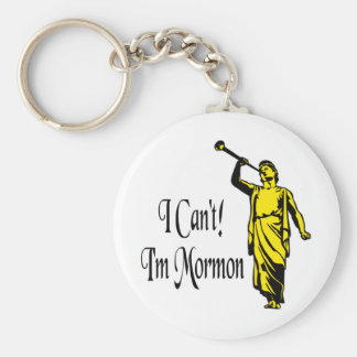 I Can't, I'm Mormon Basic Round Button Keychain