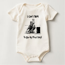 I Can't Wait To Ride My First Pony! (Barrel Pony) Baby Bodysuit
