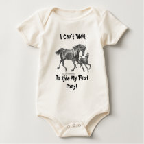 I Can't Wait To Ride My First Pony! (Mare & Foal) Baby Bodysuit