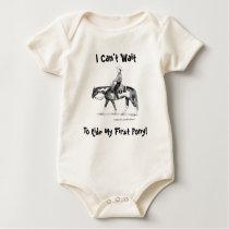 I Can't Wait To Ride My First Pony! Western Baby Bodysuit