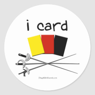 i card (fencing) classic round sticker