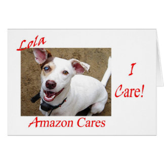 """""""I Care!"""" about Lola and Amazon Cares Greeting Card"""
