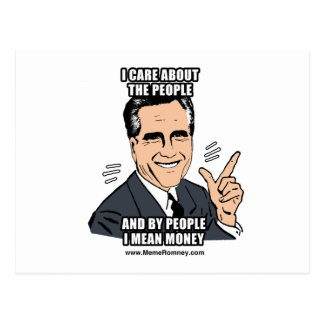 I CARE ABOUT THE PEOPLE AND BY PEOPLE I MEAN MONEY POSTCARDS