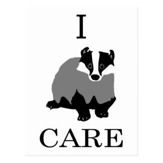 """""""I Care"""" European Badger Postcards"""