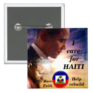 I Care for Haiti_ Button Pinback Buttons