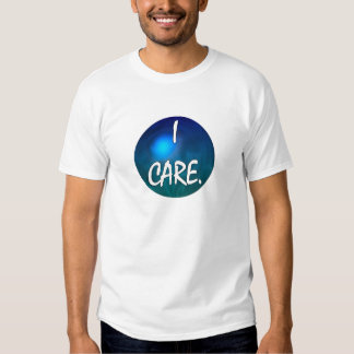 """I care.  """"I care"""" in white text on blue green glob T-shirt"""