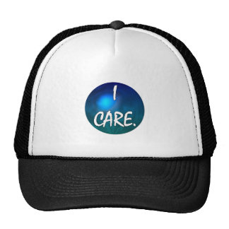 """""""I care"""" White Text in blue green circle- I care! Hats"""
