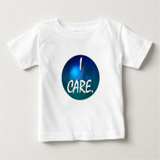 """""""I care"""" White Text in blue green circle- I care! T Shirt"""