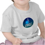 """""""I care"""" White Text in blue green circle- I care! Tee Shirt"""
