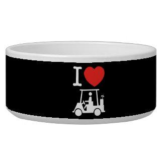 I carro de golf del corazón (amor) bol para perro