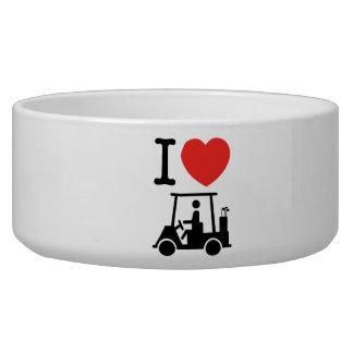 I carro de golf del corazón (amor) tazon para perro