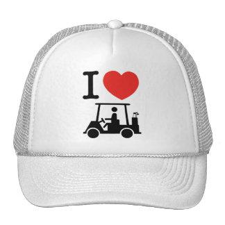 I carro de golf del corazón (amor) gorras