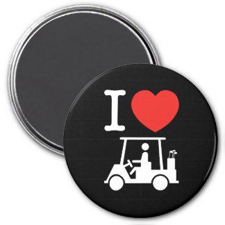 I carro de golf del corazón (amor) imanes para frigoríficos