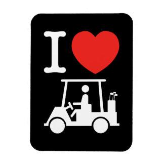 I carro de golf del corazón (amor) iman flexible