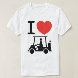 I carro de golf del corazón (amor) playera