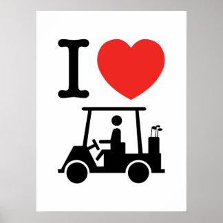 I carro de golf del corazón (amor) póster
