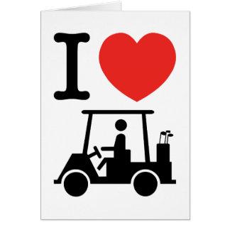 I carro de golf del corazón (amor) tarjeta