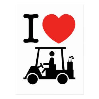 I carro de golf del corazón (amor) tarjeta postal