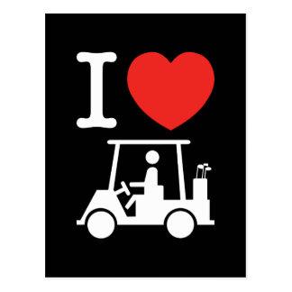 I carro de golf del corazón (amor) tarjetas postales