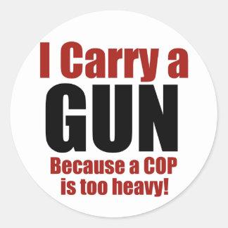 I Carry a Gun Round Stickers