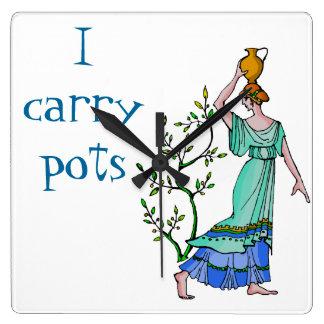 I carry pots square wall clock