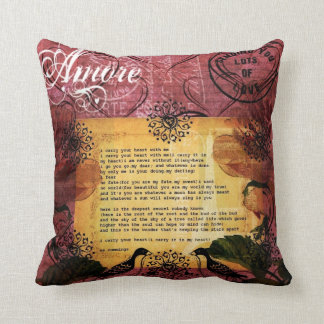 I Carry You In My Heart Amore French Market Style Throw Pillow