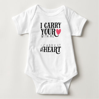 i carry your heart with me | pink heart baby bodysuit