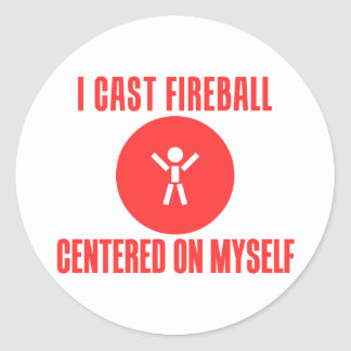 I Cast Fireball Classic Round Sticker