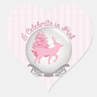 I Celebrate in Pink Heart Sticker