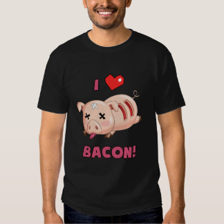 I cerdo divertido del tocino del corazón poleras