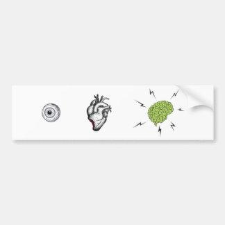 I cerebros del corazón - zombi Bumpersticker Pegatina Para Auto