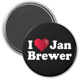 I cervecero de enero del corazón iman de nevera