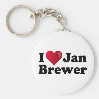 I cervecero de enero del corazón llavero redondo tipo pin