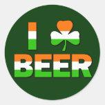¡I cerveza del trébol! Etiquetas Redondas