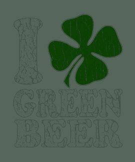 I cerveza verde del corazón camisetas