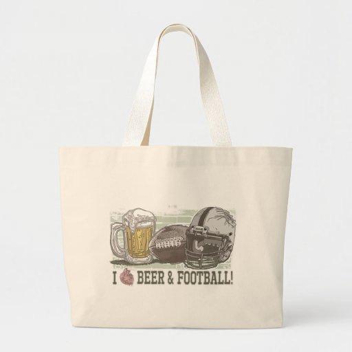 I cerveza y fútbol del corazón bolsa tela grande