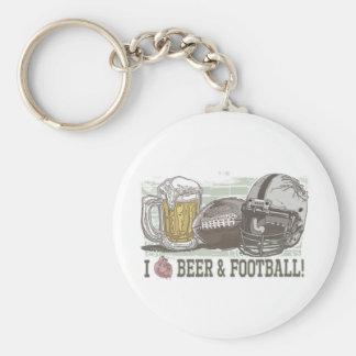 I cerveza y fútbol del corazón llavero redondo tipo pin