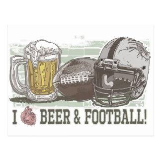 I cerveza y fútbol del corazón tarjeta postal