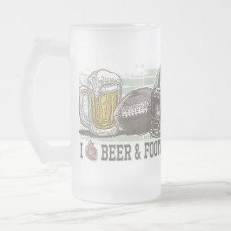I cerveza y fútbol del corazón taza cristal mate