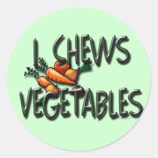 I Chews Vegetables Garden Round Stickers