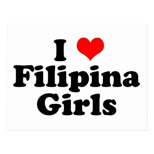 I chicas de la filipina del corazón tarjeta postal