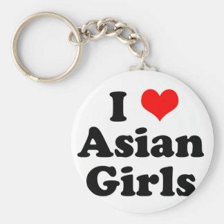 I chicas del asiático del corazón llaveros personalizados