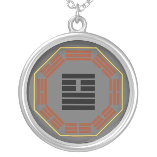 "I Ching Hexagram 26 Ta Ch'u ""Great Accumulating"" Silver Plated Necklace"