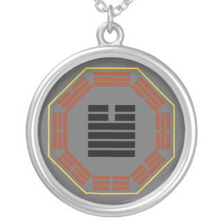 """I Ching Hexagram 34 Ta Chuang """"Great Invigorating"""" Silver Plated Necklace"""
