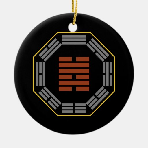 """I Ching Hexagram 47 K'un """"Oppression"""" Double-Sided Ceramic Round Christmas Ornament"""