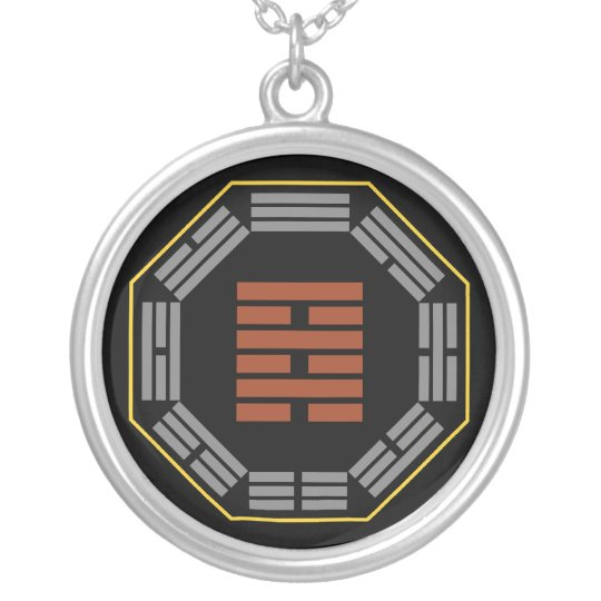 """I Ching Hexagram 64 Wei Chi """"Before Completion"""" Silver Plated Necklace"""