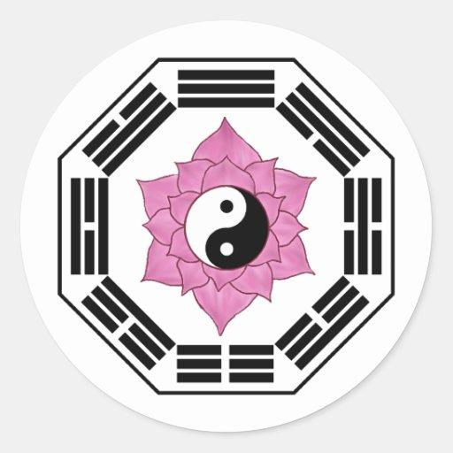 I Ching Lotus YinYang Classic Round Sticker