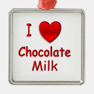 I chocolate caliente del corazón adorno navideño cuadrado de metal